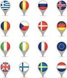 Flag,France,Germany,UK,Italy,World Map,Three Dimensional,Circle,In A Row,Direction,Computer Icon,Set,Russia,Europe,Vector,Global Positioning System,Finland,Sign,Navigational Equipment,Country - Geographic Area,Republic of Ireland,Denmark,Greece,Belgium,Sweden,Czech Republic