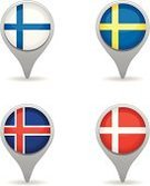 Scandinavian,Denmark,Nordic Countries,Norway,Scandinavia,Sweden,Map,Finland,In A Row,Direction,Flag,Three Dimensional,World Map,Country - Geographic Area,Guidance,Acute Angle,Circle,Vector,Pointer Stick,Global Positioning System,Backgrounds,Distance Marker,Travel,Symbol,Europe,Set