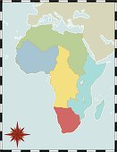 Map,Africa,North Africa,West Africa,East Africa,Central Africa,Compass,Travel Locations,Southern Africa