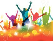 Teenager,Dancing,Music,Multi Colored,Jumping,Group Of People,People,Abstract,Entertainment,Enjoyment,Green Color,Blue,Color Image,Joy,Women,Teenage Girls,Backgrounds,Disco Dancing,Yellow,Nightclub,Positive Emotion,Touching,Pink Color,Happiness,Young Adult,Design,Vector,Lifestyles,Orange Color,Ilustration,Image,Men,Computer Graphic,Action,Celebration,Holiday,Ideas