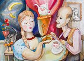 Paintings,Cooking,Women,Men,Ilustration,Leisure Activity,Samovar,Cooking Pan,Meat Pie,Domestic Cat,Geranium,Pets,Resting,Plant,Night,Tea - Hot Drink,Table,People,Activity,Drawing - Activity,Love,Indoors,Bow