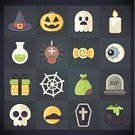 Flat,Halloween,Icon Set,Tombstone,Hat,Human Eye,Pumpkin,Human Skull,Cemetery,Spider,Candy,Candle,Fire - Natural Phenomenon,Witch,Spider Web,Spooky,Moon,Gift,Bag,Set,Vector,Holiday,Ghost,Potion,Cauldron,Collection
