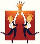 High-Five,Vector,Achievement,Success,Jumping,Teamwork,Agreement,Excitement,Satisfaction,Joy,Smiling,Smiley Face,Tie,Occupation,Concepts,Cheerful,Characters,Celebration,Businessman,Cartoon