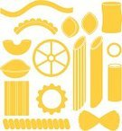 Pasta,Macaroni,Spaghetti,Symbol,Italian Cuisine,Dried Food,Collection,Vermicelli,Isolated,Dry,Vector,Cannelloni,Cultures,Design Element,Set,Food,Sign,Yellow,Italian Culture,Variation