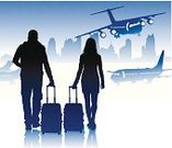 Silhouette,Back Lit,Leaving,Airport,Mode of Transport,Aerospace Industry,Transportation,Ilustration,People,Travel,People Traveling,Vector,Airport Check-In Counter,Luggage,Air Vehicle,City,Planet - Space,Arrival,Urban Scene,Station,Gate,Commercial Airplane,Passenger,International Landmark,Journey,Safety,Walking