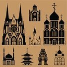 Castle,Hinduism,Cross,Group of Objects,Islam,Isolated,Christianity,Russia,Judaism,Buddhism,Religion,Medieval,Asia,Shinto,Duotone,Architecture,Synagogue,Built Structure,Silhouette,Symbol,Europe,Temple - Building,Praying,Church,Building - Activity,Shrine,Vector,Building Exterior,Flat,Backgrounds,Gothic Style,Outdoors,Spirituality,Ilustration,Protestantism,Town,Dome,Cathedral,Mosque,Catholicism,Facade,Set