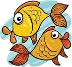 Fun,Humor,Smiling,Fortune Telling,Cute,Concepts,Ideas,Clip Art,Drawing - Art Product,Water,Fish,Cartoon,Gold Colored,Characters,Animal,Sign,Design,Sea Life,Vector,Astrology Sign,Ilustration,Mascot,Pisces,Astrology