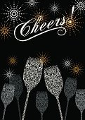 Anniversary,Champagne Flute,Wine,Celebratory Toast,Silver Colored,Champagne,New Year's Eve,Vector,Modern,Firework Display,Glass - Material,Holiday,Wedding,Alcohol,Vine,Abstract,Ornate,Swirl,Celebration,Copy Space,Glowing,Exploding,Grape,Night,Bubble,Party - Social Event,Shiny,Elegance,Wineglass,Gold Colored,Lace - Textile,Glass,Drink