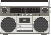 Boom Box,Radio,Gray,Musical Instrument,Playing,Silver Colored,Speaker,Audio Cassette