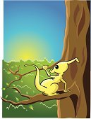 Nature,Animal,Marsupial,Tree,Tropical Rainforest,Illustration,No People,Vector,Morning,Travel locations,Yellow Beast