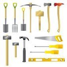 Equipment,Work Tool,Gardening Equipment,Symbol,Screwdriver,Hand Saw,Hammer,Shovel,Construction Industry,Computer Part,Manual Worker,Computer Icon,Hardware Store,Color Image,Mallet - Hand Tool,Level,Axe,DIY,Trowel,Pick Axe,Sledgehammer,Illustration,Flat,Pitchfork - Agricultural Equipment,Vector,Construction Worker,Claw Hammer,Home Addition,Fire Axe,Wood Axe,Garden Spade,Lump Hammer,builders tools,Phillips Head Screwdriver,Icon Set,Tool Icons,Serrated