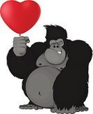 King Kong,Love,Monkey,Black Color,Red,Romance,Entertainment,Animal Muscle,Drawing - Art Product,Mammal,Animals In The Wild,Joy,Wildlife,Holding,Endangered Species,Fur,Gift,Holiday,Ilustration,Looking,Sitting,Cute,Heart Shape