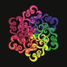 Multi Colored,Snowflake,Curve,Backgrounds,Abstract,Vector