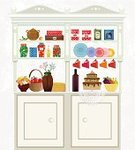 Kitchen,Shelf,Cabinet,Old-fashioned,Backgrounds,Buffet,Home Interior,Crockery,Food,Box - Container,Cooking,Old,Glass - Material,Furniture,Dessert,Decor,Flower,Indoors,Fruit,Decoration,Supermarket,Drawing - Art Product,Jar,Bottle,Pancake,Teapot,Glass,Preserves,Drink,Kitchenware Department,Single Object,Homemade,Vector,Pattern,Cooking Pan,Tea - Hot Drink,Sweet Food,Ilustration,Domestic Life,Cup,Design,Kitchen Utensil,Cake,Alcohol,Vase,Cute,Store