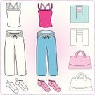 Clothing,Bag,Weight Scale,Yoga,Gym,Purse,Healthy Lifestyle,Exercising,Pants,Color Image,Sock,Illustration,Relaxation Exercise,Health Club,Top - Garment,Gym Bag,Wellbeing,No People,Vector,Jogging Pants,Shirt
