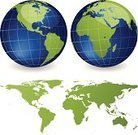 Globe - Man Made Object,Earth,World Map,Map,Planet - Space,Sphere,Green Color,Africa,Vector,USA,Blue,Cartography,Europe,Ilustration,Land,Computer Graphic,Asia,North America,The Americas,continents,Pacific Ocean,Water,Shiny,Australia,Sea,Canada,Physical Geography,Clip Art,countries,Atlantic Ocean,Isolated On White,South America,Bodies Of Water,Travel Locations,Medicine And Science,Nature