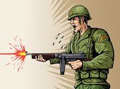 Fighting,Armed Forces,USA,American Culture,Shouting,Conflict,Rifle,History,Furious,War,Magazine - Firearms,Work Helmet,Army,Machine Gun,Anger,Cartoon,Displeased,Barrel,Muzzle Flash,Automatic,Battle,World War II,Shooting,Aiming,Killing,Bullet