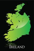Map,Republic of Ireland,Cartography,Ilustration,Shiny,Europe,Green Color,Isolated On Black,No People,Vector,Color Image,Text