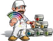 House Painter,Baseball Cap,Cartoon,Home Addition,Catalog,Bucket,Smiley Face,Repairman,Building Contractor,Paint,Home Improvement,Construction Industry,Showing,Smiling,Home Decorator,Joy,Multi Colored,Manual Worker,Color Swatch,Color Picker,Happiness,Job - Religious Figure,Ilustration,Card File,Mascot,Sketch,Construction Worker,Characters,Can,Car Bodywork,Colors,Painting,Cheerful,Craftsperson,Other Keywords,Uniform,Paintbrush