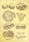 Salad,Sandwich,Baguette,Plate,hand drawing,Food,Filled Roll,Mushroom,Pizza,Tomato,Bread