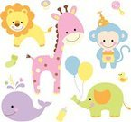 Whale,Baby Shower,Animal,Elephant,Cute,Monkey,Balloon,Lion - Feline,Rubber Duck,Cartoon,Vector,Toy,Giraffe,Set,Sock,Pacifier,Ilustration,Pastel Colored,Hat,Milk Bottle