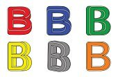 Paint,Set,Isolated,B,Three-dimensional Shape,Color Image,Vector,Letter B,Alphabet,Alphabetical Order