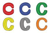 Paint,Set,Isolated,Three-dimensional Shape,Color Image,Vector,Letter C,Alphabet,Alphabetical Order