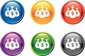 Money Bag,Currency,Dollar Sign,Bag,Symbol,Dollar,Wealth,Computer Icon,Interface Icons,Finance,Blue,Shiny,Treasure,Sparse,Black Color,Vector,Modern,Bringing Home The Bacon,Design,Digitally Generated Image,Green Color,Yellow,Red,Ilustration,Purple,White Background,Banking