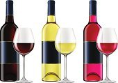 White Wine,Bottle,Red,Wine,Wine Bottle,Glass,Glass - Material,Wineglass,Rose Wine,Photo-Realism,Ilustration,Vector,Red Wine,White,Isolated On White,Clip Art,Pink Color