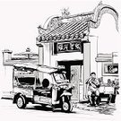 Food,Thailand,Eating,People,Street,Vector,Asia,Chinatown,Temple - Building,Sketch,Chinese Culture,Chinese Ethnicity,Drawing - Art Product,Rickshaw,Bangkok,Door,Art Product,Real People,Ilustration,Cultures,Pencil Drawing,Art,Tourism,Transportation,Outdoors,Mode of Transport