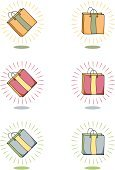 Shopping Bag,Gift Bag,Bag,Retail,Religious Icon,Icon Set,Gift,No People,Small Group of Objects,Vector,Yellow,Illustrations And Vector Art,Slanted,Holidays And Celebrations,Clip Art,Sports And Fitness,Christmas,Isolated On White,Vertical,Orange Color,Blue,Pink Color