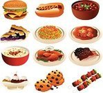 Chili,Bowl,Pie,Cookie,Satay,Chicken Wing,Hamburger,Drawing - Art Product,Barbecue,Skewer,Vector,Plate,Cartoon,Hot Dog,Meat,Macaroni And Cheese,Rib,Dessert,Fried Chicken,Chowder,Ice Cream,Shrimp,Chocolate,Prawn,Ice Cream Sundae,Meal,Food,Soup,USA,Burger,Icon Set,Steak,Clip Art,Modern,Ilustration,Sausage