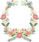 Wreath,Flower,Single Flower,Old-fashioned,Drawing - Art Product,Ilustration,Peony,Backgrounds,Cute,Copy Space,Wedding,Bouquet,Daisy,Leaf,Springtime,Formal Garden,Rose - Flower,Picture Frame,Clip Art,Plant,Painted Image,Petal,Tulip,Beauty In Nature,Vector,Design,Nature,Botany