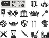 Symbol,Suit of Armor,Knight,Castle,Protection,Silhouette,Weapon,Black Color,Shield,Sword,Military,Horned,Tower,War,Vector,Architectural Column,Razor Blade,Club,Conflict,Axe,History,Clock,Ink,Halberd,Pennant,Flag,Banner,Dagger,Nobility,Old-fashioned,Abundance,Crown,Set,Classical Greek