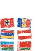 Grunge,Dirty,Rubber Stamp,Vector,Albania,Belarus,Colors,Austria,Spray,Isolated On White,Design Element,Computer Icon,Europe,Color Image,Splattered,Flag,Isolated,Ilustration,Print,Azerbaijan,Andorra,Armenia