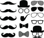 Mustache,Vector,Bow Tie,Ilustration,Sunglasses,Hipster,Symbol,Eyeglasses,Bowler,Men,Black Color,Silhouette,Hat,Retro Revival,Collection,Mask,Shape,Set,Isolated,Fashion,Male,Personal Accessory,Humor,Style,Costume,Design Element,Fashionable,Pipe,Old-fashioned