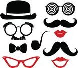 Mustache,Human Lips,Retro Revival,Vector,Bowler,Old-fashioned,Costume,Sunglasses,Symbol,Men,Fashion,Eyeglasses,Personal Accessory,Design Element,Male,Fashionable,Pipe,Collection,Ilustration,Set,Silhouette,Style,Hipster,Party Props,Hat,Bow Tie,Black Color,Mask,Humor,Shape,Isolated