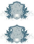 Coat Of Arms,Shield,Banner,Sign,Dirty,Grunge,Ornate,Decoration,Swirl,Award Plaque,Vector,Old-fashioned,Ribbon,Elegance,Digital Composite,Symbol,Group of Objects,Halftone Pattern,Style,Ilustration,Shape,Illustrations And Vector Art,Digitally Generated Image,Copy Space,Objects/Equipment,Message