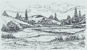 Engraved Image,Stream,Engraving,Forest,Non-Urban Scene,Sketch,Landscape,Ilustration,Nature,Pencil Drawing,Drawing - Activity,Drawing - Art Product,Lake,Hill,House,Outdoors,Rustic,Contour Drawing,Residential Structure,Cottage,Cloudscape,Water's Edge,Poplar Tree,River,Riverbank,Riverside,Valley,Vector,Coastline,Water,Hut,Sand,Village,Overcast,Rural Scene,Pond,Cloud - Sky,Ink,Sky,Summer,Tree,Plain,Computer Graphic,waterside,Pencil