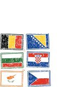 Cyprus,Croatia,Bosnia and Hercegovina,Bulgaria,Belgium,Europe,Isolated On White,Design Element,Flag,Spray,Czech Republic,Dirty,Splattered,Vector,Symbol,Isolated,Ilustration,Print,Colors,Color Image,Rubber Stamp,Grunge