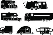 Motor Home,Mobile Home,Vehicle Trailer,Camping,Tear,Mobile Home,Pick-up Truck,Silhouette,Van - Vehicle,Mobility,On The Move,Mini Van,Parking,Transportation,Land Vehicle,Recreational Pursuit,Leisure Activity,Mode of Transport,Travel,People Traveling,Cabin,Event,Ilustration,Vector,Coupling,Folding,Outdoors,House,Travel Destinations,Summer Camp,Car,Relaxation,Journey,Light Goods Vehicle,Summer,Vacations,Foldable,popup,Park - Man Made Space,Symbol