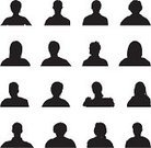 Silhouette,Human Head,People,Men,Outline,Women,Back Lit,Unrecognizable Person,Mug Shot,Shadow,Vector,Mystery,Portrait,Black Color,Ilustration,Isolated,Focus on Shadow,Isolated On White,Monochrome,Tracing