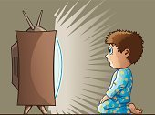Television Set,Child,Television Broadcasting,Surprise,Television Show,Fear,Staring,Sitting,Crt Television,Watching,Little Boys,Cute,Star Shape,impressionable,late night,Pajamas,Antenna - Aerial,Awe,Spectator