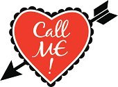 Valentine's Day - Holiday,On The Phone,Valentine Card,Symbol,Computer Icon,Flirting,Romance,Love,Heterosexual Couple,Togetherness,Telephone,Dating,Vector,Arrow Symbol,Heart Shape,Bonding