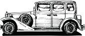 Old-fashioned,Etching,1940s Style,1940-1949,Side View,Black And White,Image,Car,motor-car,Elegance,Collector's Car,Symbol,Outline,White Background,black-and-white,Motor Vehicle,1940-1980 Retro-Styled Imagery,1930s Style,Ilustration,Luxury