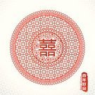 Backgrounds,East Asian Culture,Art,Ilustration,Ornate,Computer Graphic,Vector,Cultures,Wedding,Decoration,China - East Asia,Classical Style,Retro Revival,Circle,Chinese Culture,Married,Asia,Design,Pattern,Old-fashioned,Love,Shape,Red,Happiness