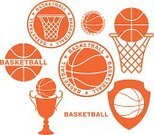 Basketball - Sport,Basketball,Sign,Old-fashioned,Vector,Trophy,Award,Symbol,Sport,Abstract,Collection,Label,Sports Equipment,Healthy Lifestyle,Set,Cup,Design Element,Basket,Isolated,Ball,Competitive Sport,Orange Color,Bizarre