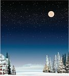 Winter,Landscape,Dark,Night,Snow,Frost,Tree,Evergreen Tree,Nature,Sky,Blue,Forest,Season,Weather,Vector,Moon,Non-Urban Scene,Ilustration,Star Shape,Cold - Termperature,White