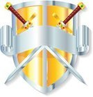Sword,Shield,Coat Of Arms,Nobility,Weapon,Vector,Ilustration,Protection,No People,Isolated On White