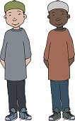 Untied,Kufi,Indian Ethnicity,White Background,African Descent,Adolescence,Serene People,Smiling,Islam,Sports Shoe,Little Boys,Cheerful,Relaxation,Asian and Indian Ethnicities,One Person,Vector,Clip Art,Shoelace,Fez,Cut Out,Yarmulke,Gratitude,Hands Behind Back,Ilustration,Child,Relief,Positive Emotion,Shoe,Carefree,Religion,Middle Eastern Ethnicity,Ethnic,Isolated